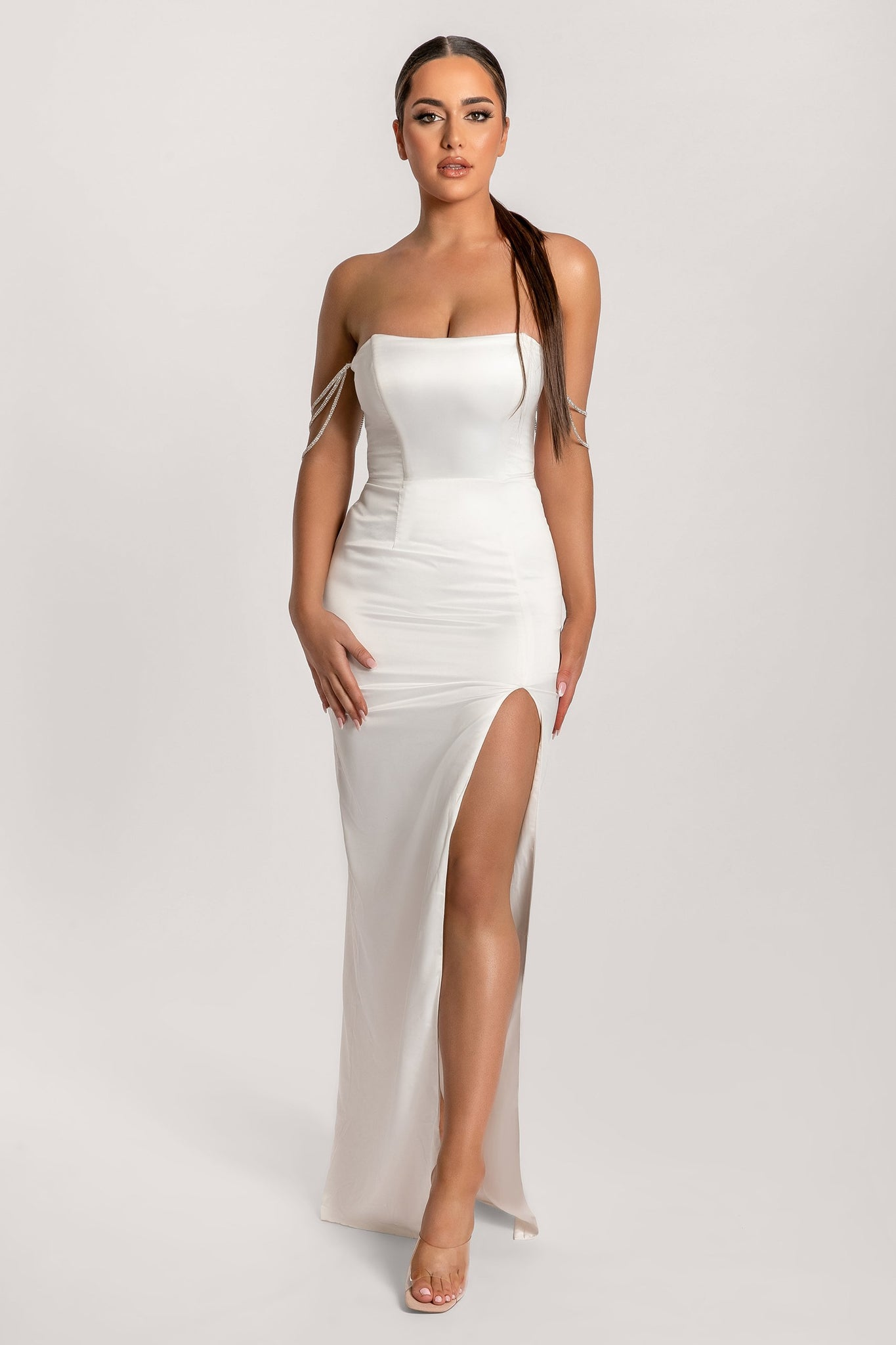 Devon Diamante Drape Strapless Maxi Dress - Ivory - MESHKI
