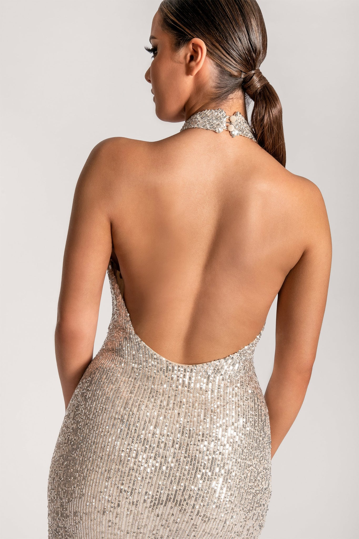 Darcy Sequin High Neck Low Back Maxi Dress - Silver - MESHKI