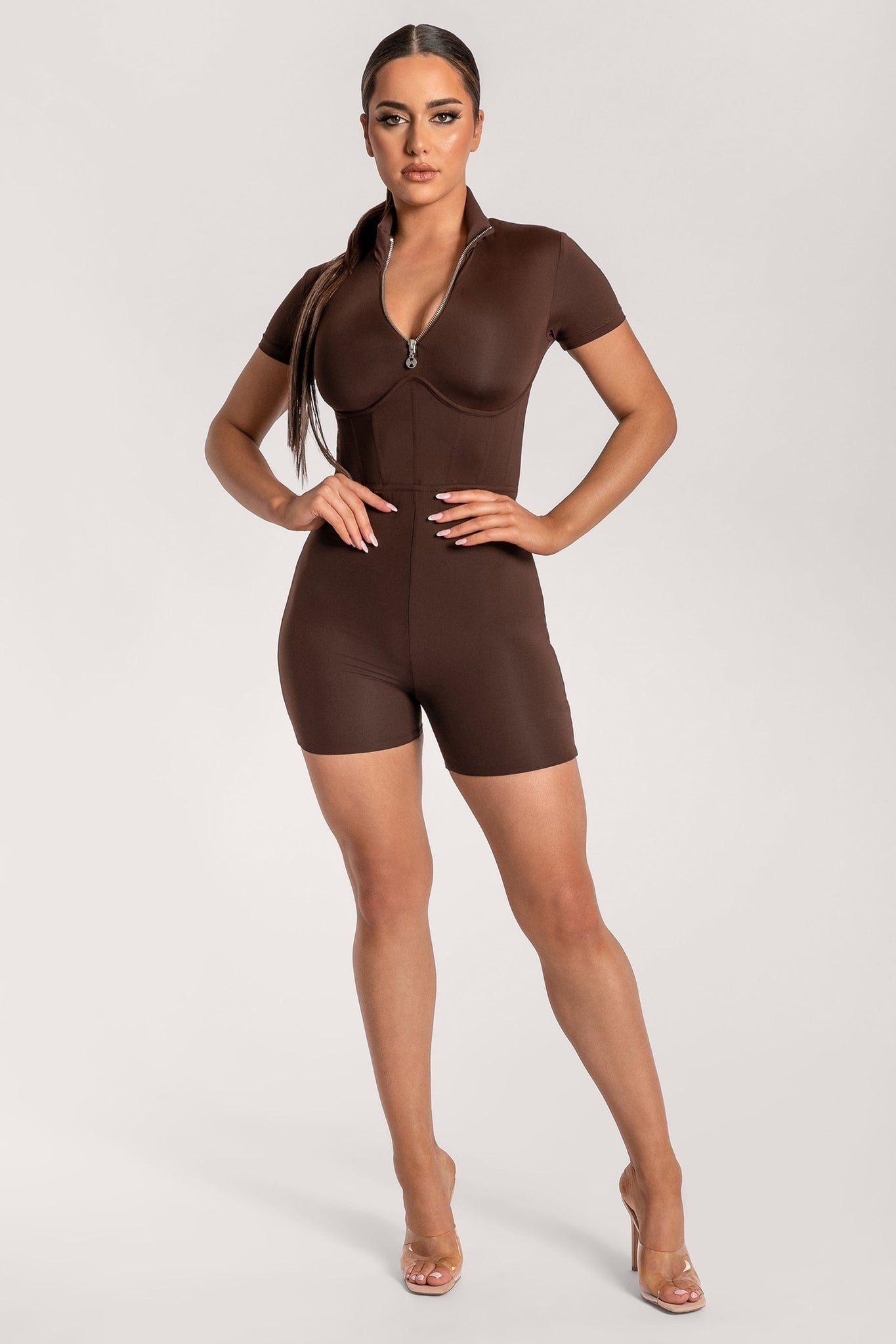 Zahiah Corseted Short Sleeve Playsuit - Chocolate - MESHKI