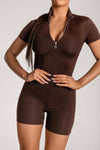 Zahiah Corseted Short Sleeve Playsuit - Chocolate