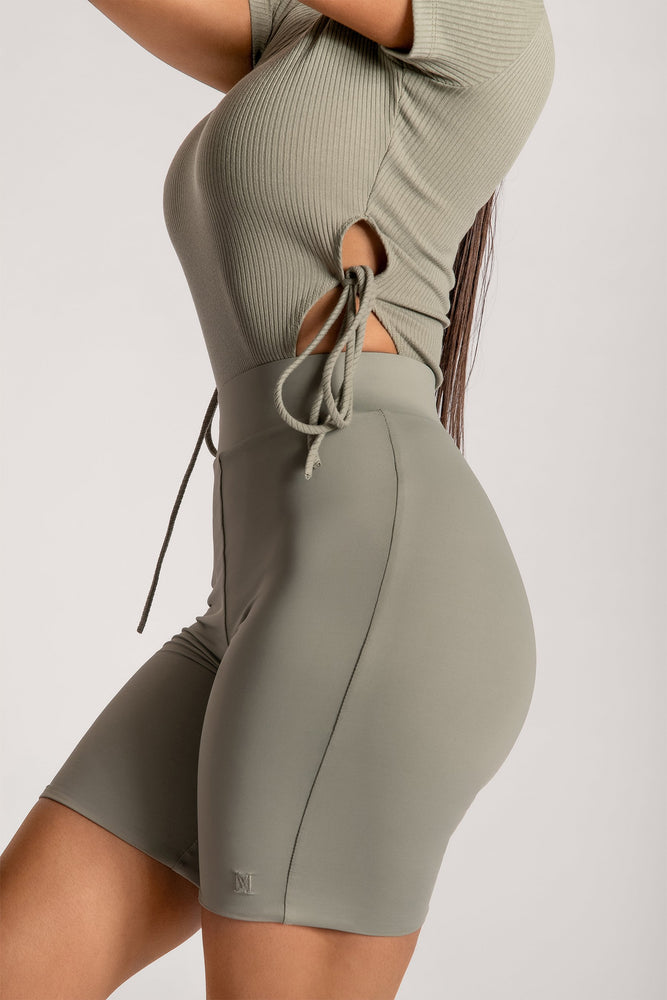 Rebecca Ribbed High Cut Bodysuit - Sage - MESHKI