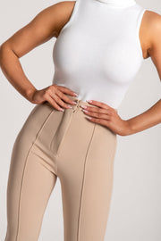 Zendaya Highwaisted Flare Pants - Nude - MESHKI