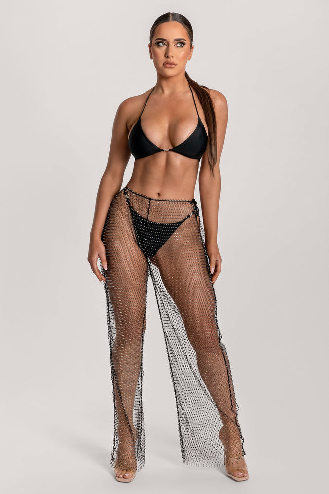 Shimmi Fishnet Diamante Wide Leg Pants - Black - MESHKI