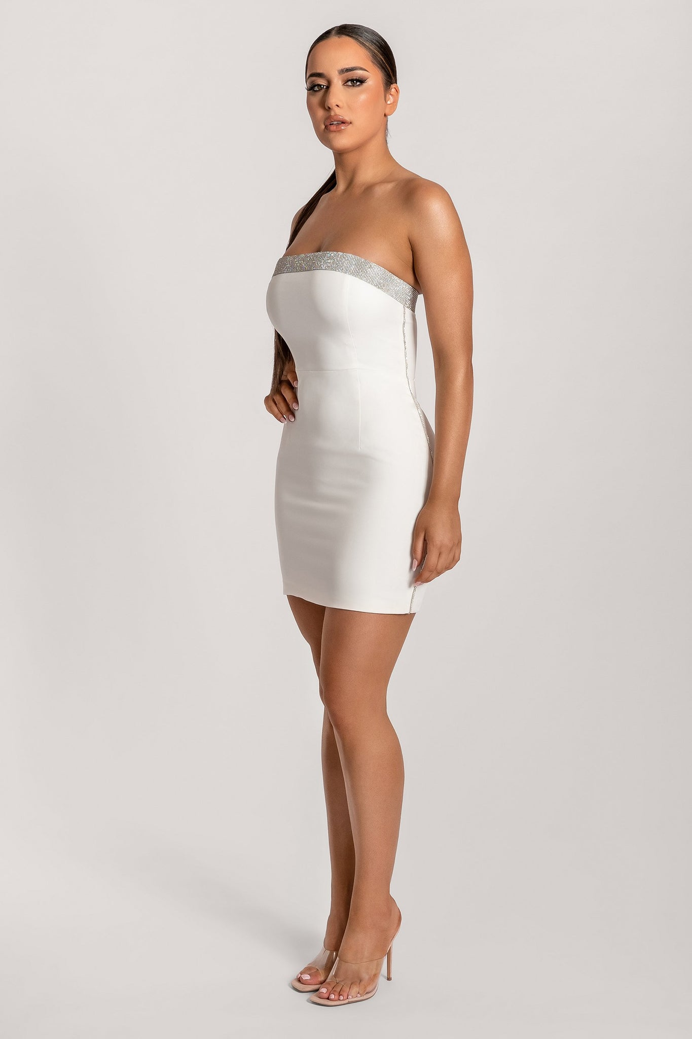 Amy Strapless Diamante Trim Mini Dress - White - MESHKI