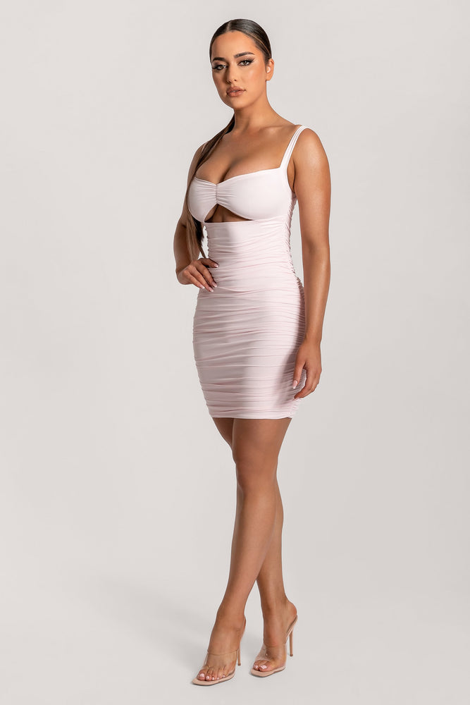 Melody Ruched Strap Cut Out Mini Dress - Blush - MESHKI
