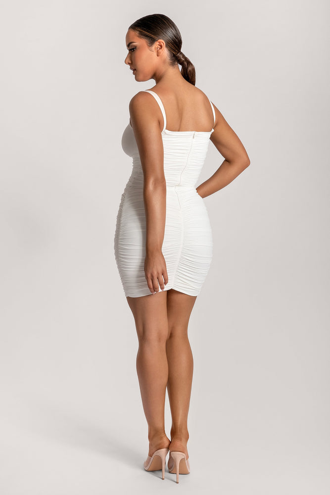 Melody Ruched Strap Cut Out Mini Dress - White - MESHKI
