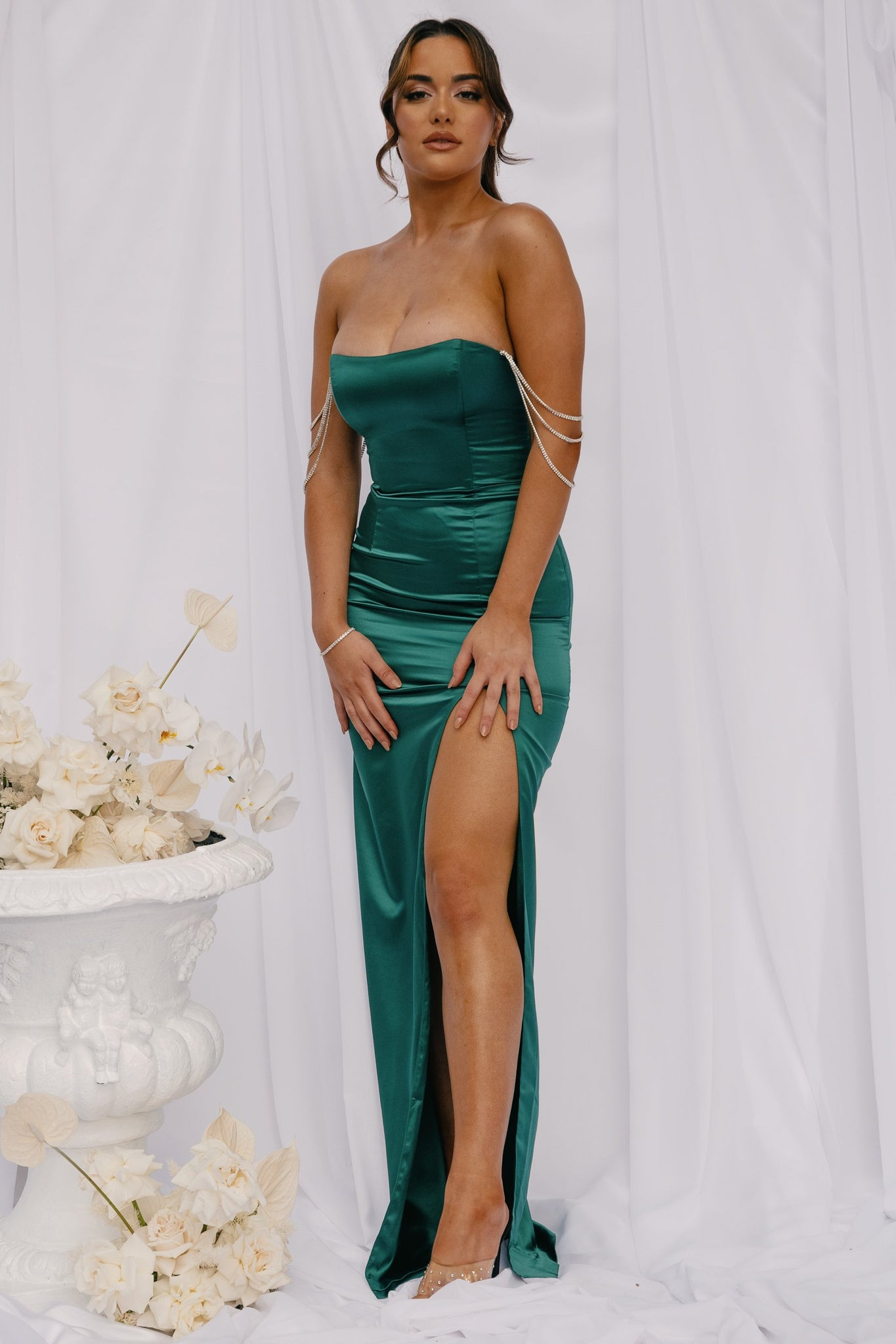 Devon Diamante Drape Strapless Maxi Dress - Emerald - MESHKI