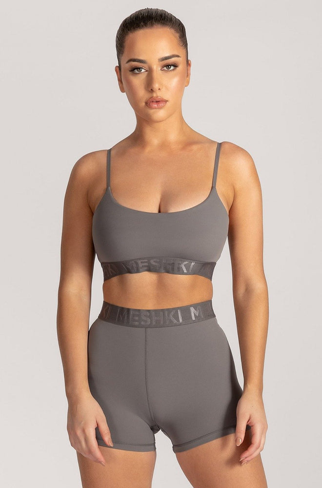 Adonis Meshki Scoop Neck Crop Top - Charcoal - MESHKI