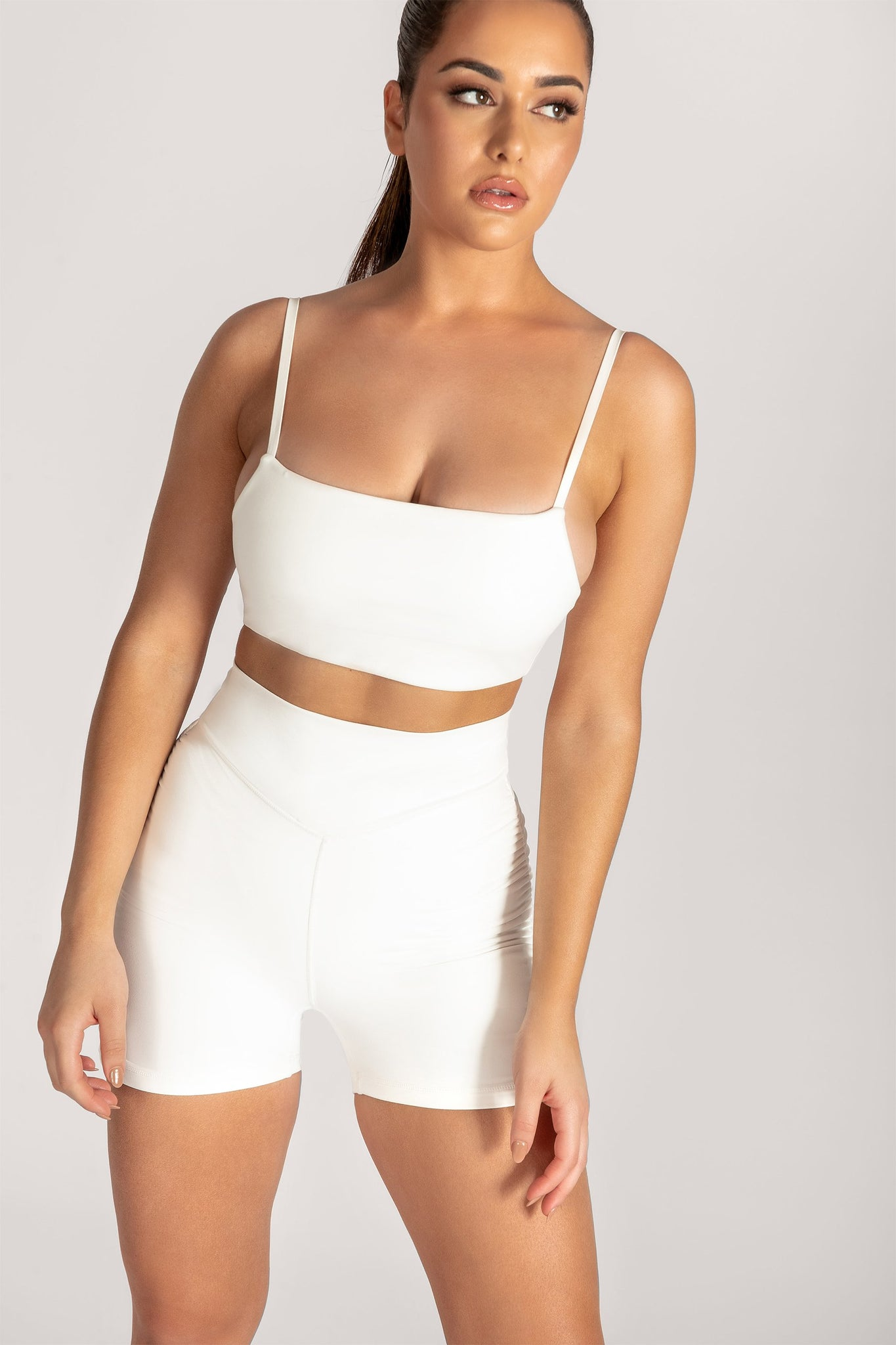 Asteria Thin Strap Crop Top - White - MESHKI
