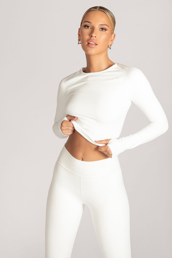 Venus Long Sleeve Crop Top - White - MESHKI