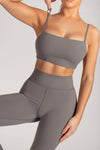 Asteria Thin Strap Crop Top - Charcoal