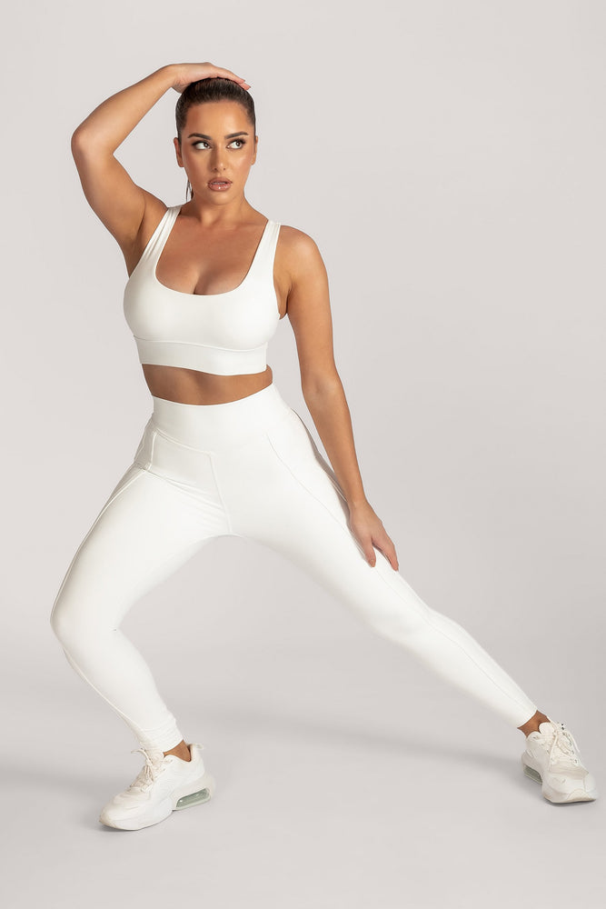Hera Panelled Leggings - White - MESHKI