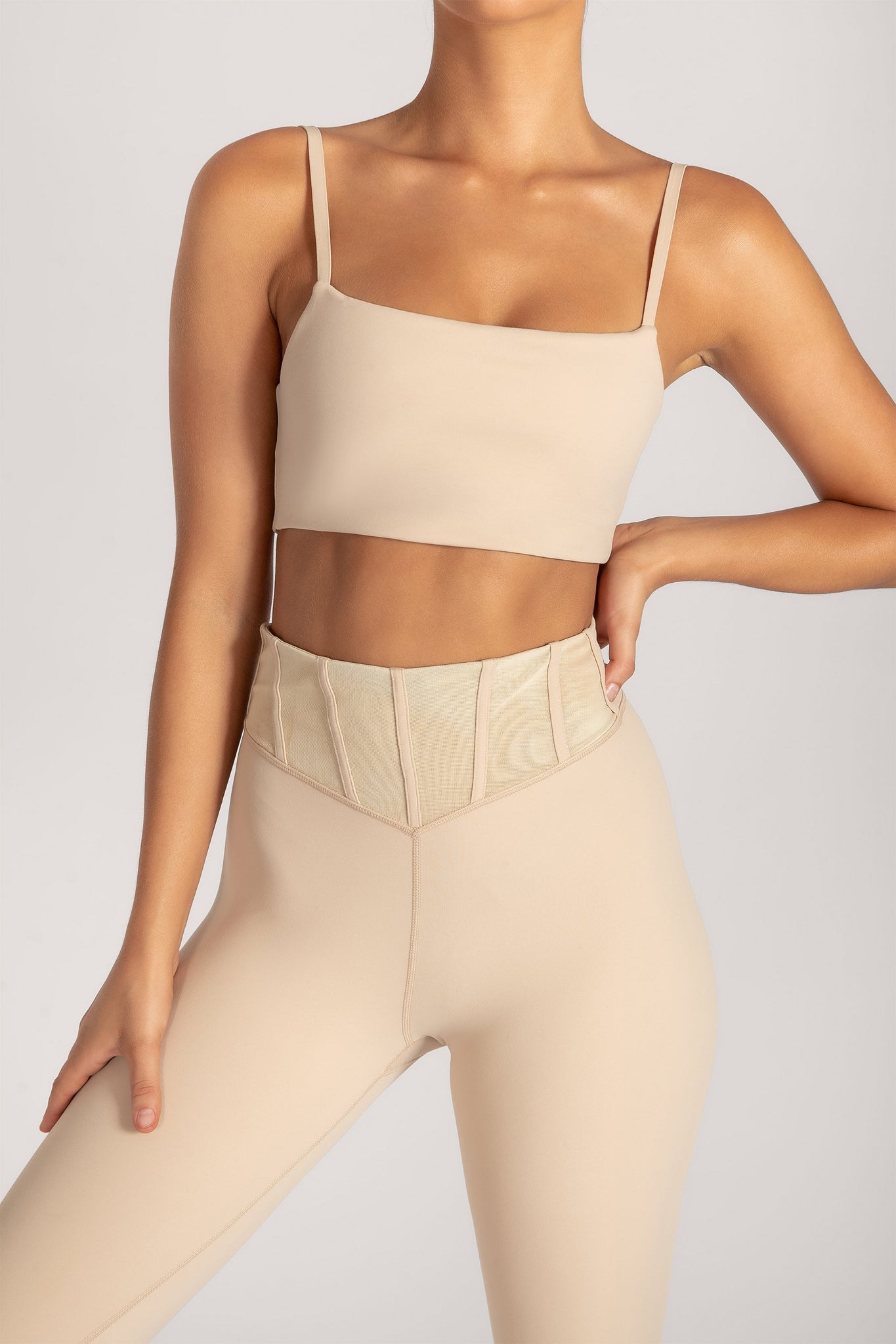Asteria Thin Strap Crop Top - Nude - MESHKI