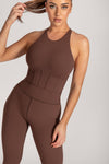 Hera Panelled Bodysuit - Chocolate