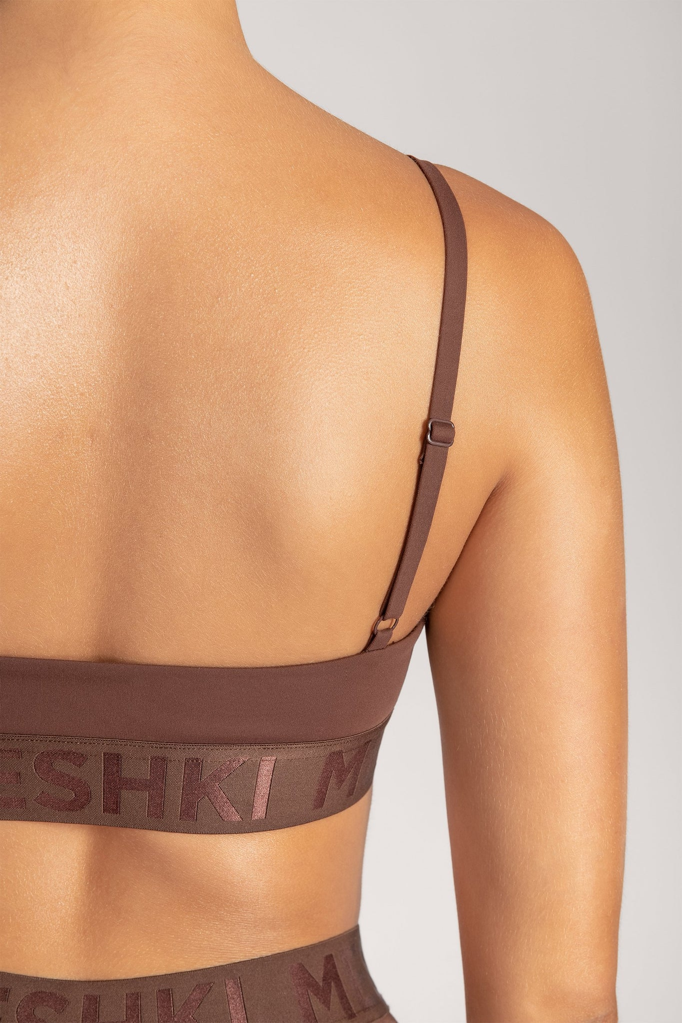 Rhea Meshki Triangle Crop Top - Chocolate - MESHKI