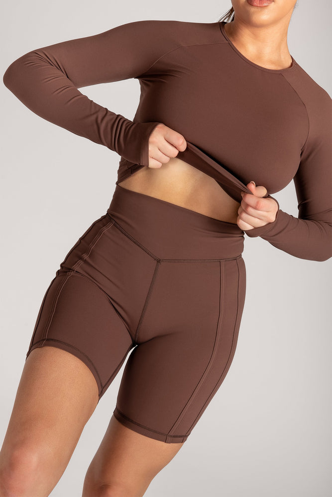 Hera Panelled Bike Shorts - Chocolate - MESHKI