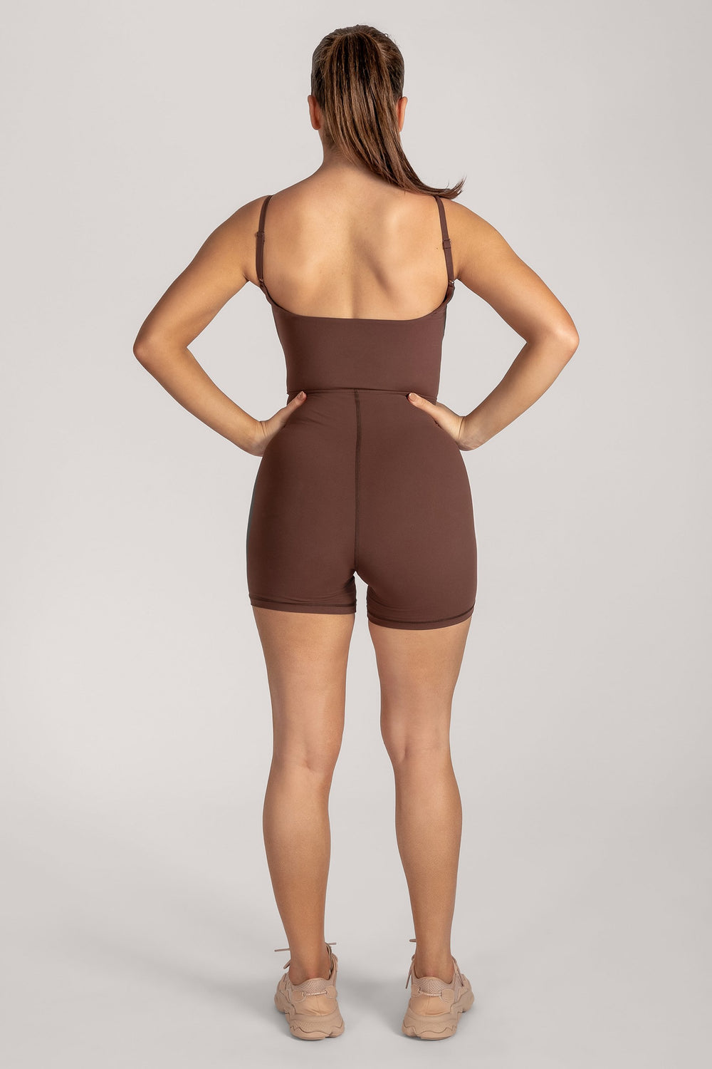 Asteria Thin Strap Low Back Playsuit - Chocolate - MESHKI