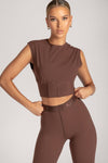 Hestia Panelled Sleeveless Crop Top - Nude