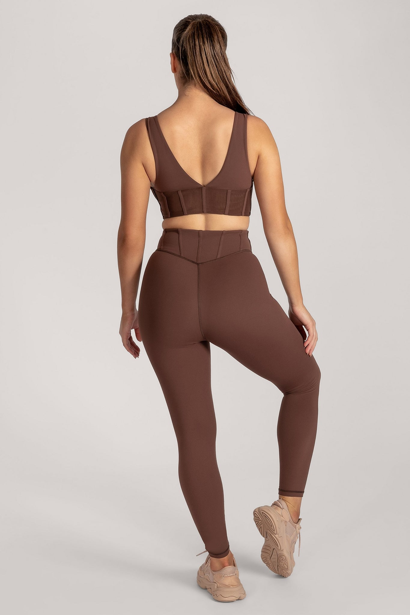 Ceres Corsetted Waist Leggings - Chocolate - MESHKI