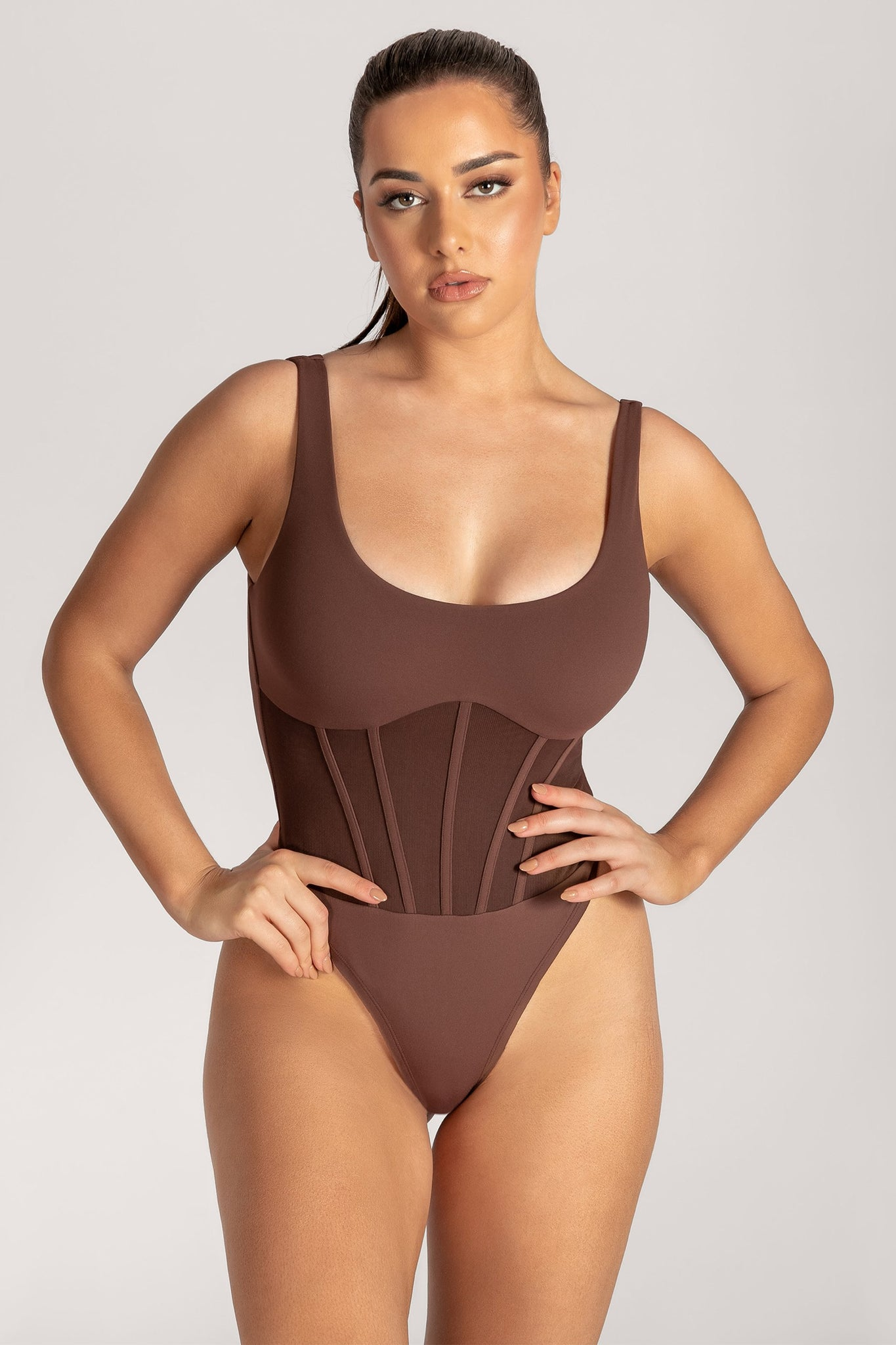 Iris Mesh Panel Sleeveless Bodysuit - Chocolate - MESHKI
