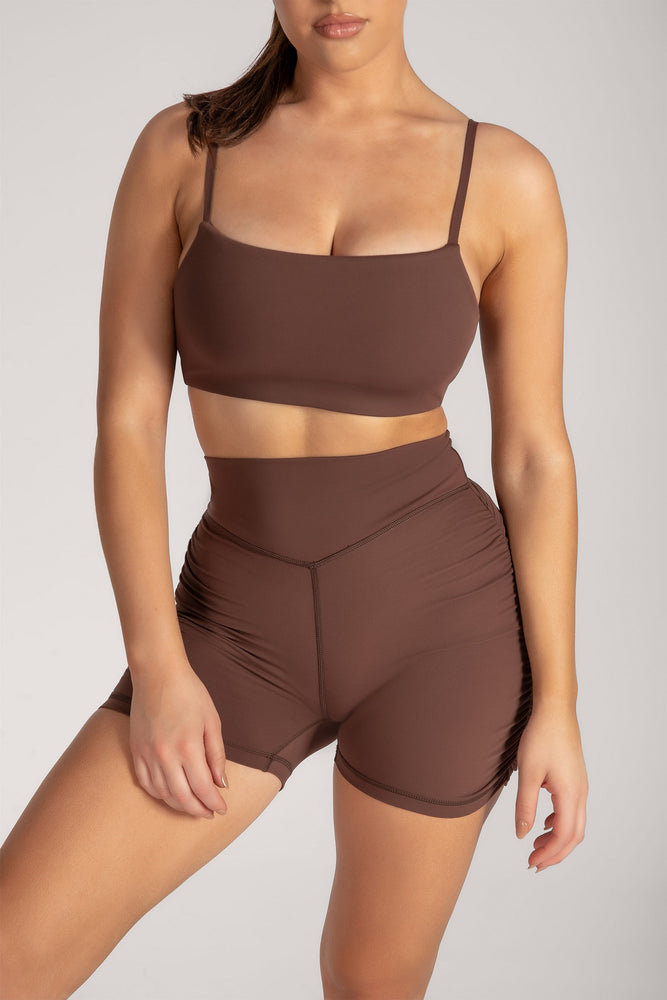 Selene Ruched Booty Short - Chocolate