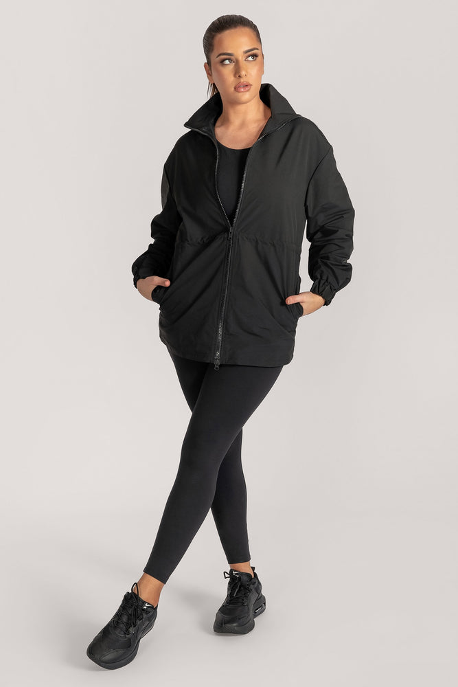 Whitney High Neck Two Way Zip Jacket - Black - MESHKI
