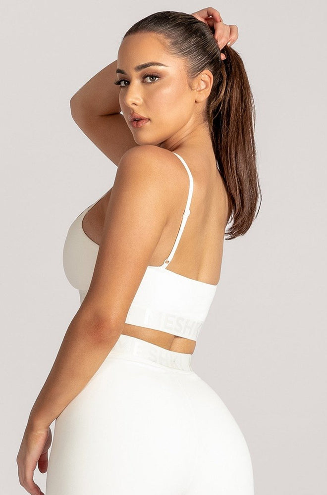 Adonis Meshki Scoop Neck Crop Top - White - MESHKI