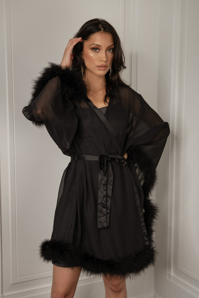 Clara Short Feather Trim Robe - Black - MESHKI