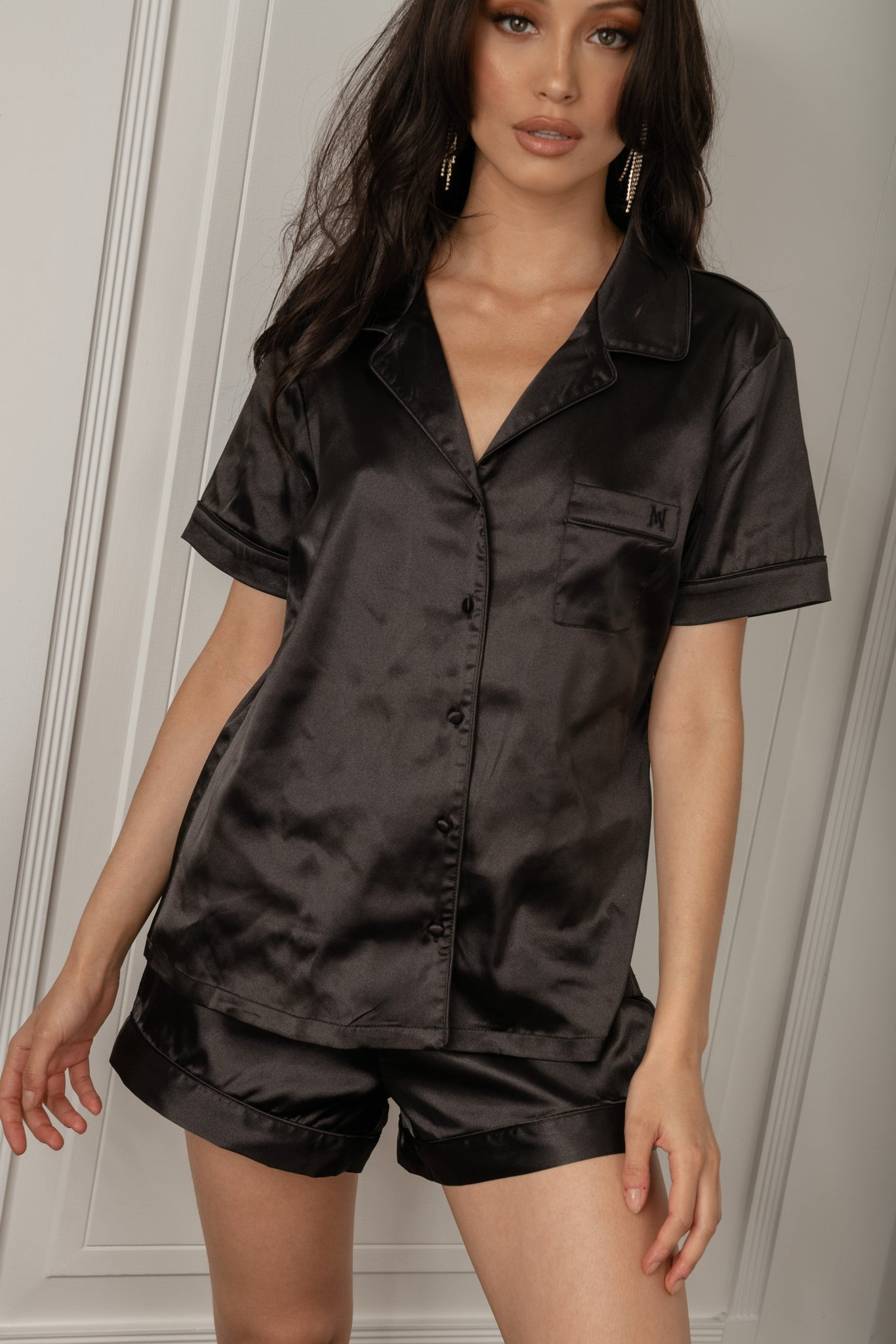 Claire Satin Short Sleeve Pyjama Top - Black - MESHKI
