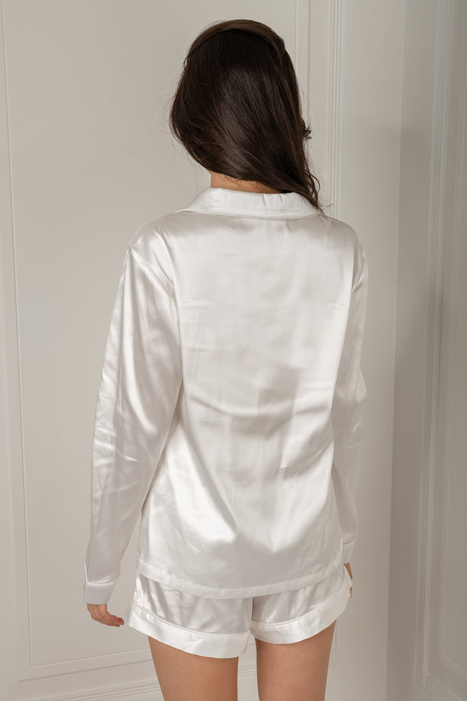 Abigail Satin Long Sleeve Pyjama Top - Ivory - MESHKI