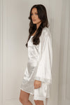 Imani Satin Wrap Robe - Black