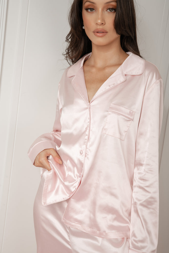 Abigail Satin Long Sleeve Pyjama Top - Baby Pink - MESHKI