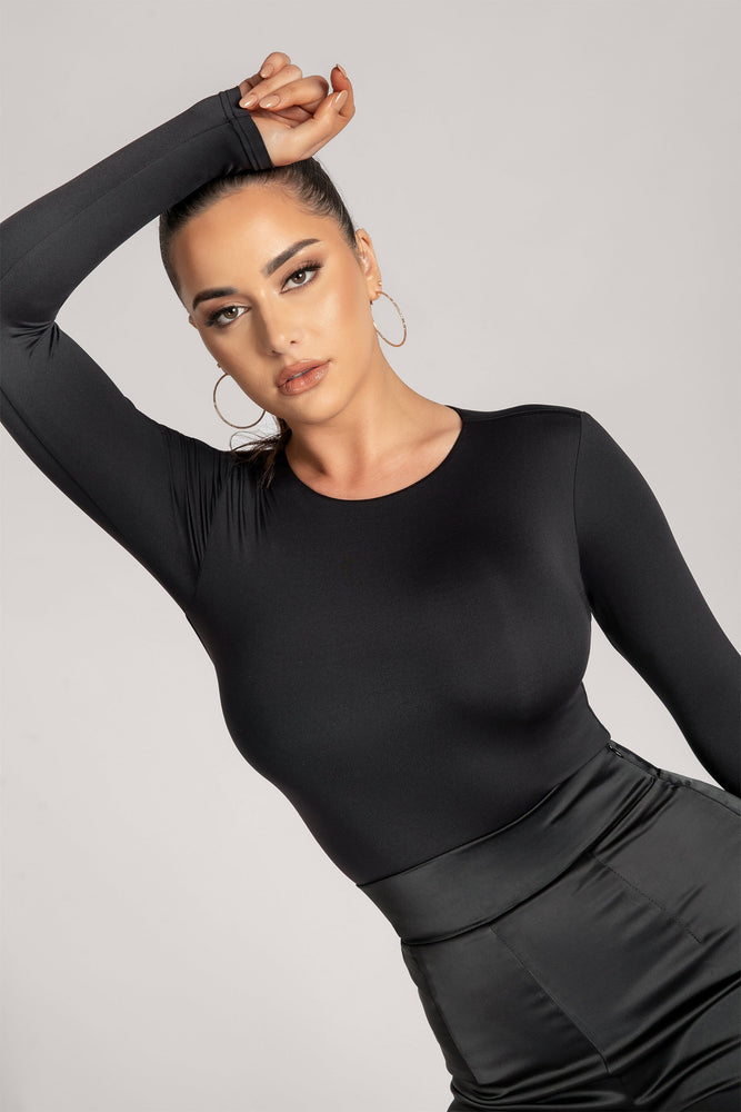Lydia Crew Neck Long Sleeve Bodysuit - Black