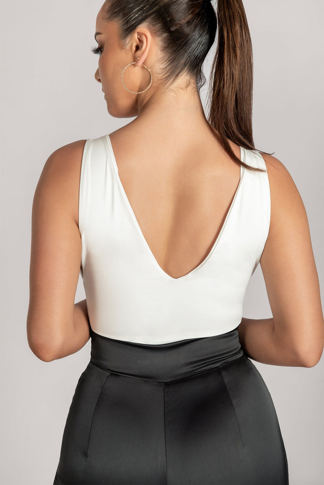 Ferne V Neck Low Side Bodysuit - White