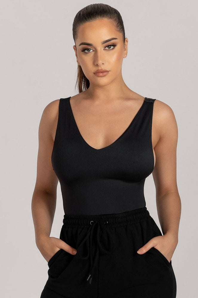 Ferne V Neck Low Side Bodysuit - Black - MESHKI
