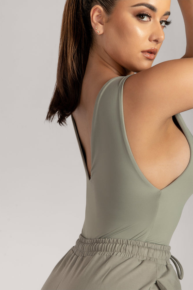 Ferne V Neck Low Side Bodysuit - Sage