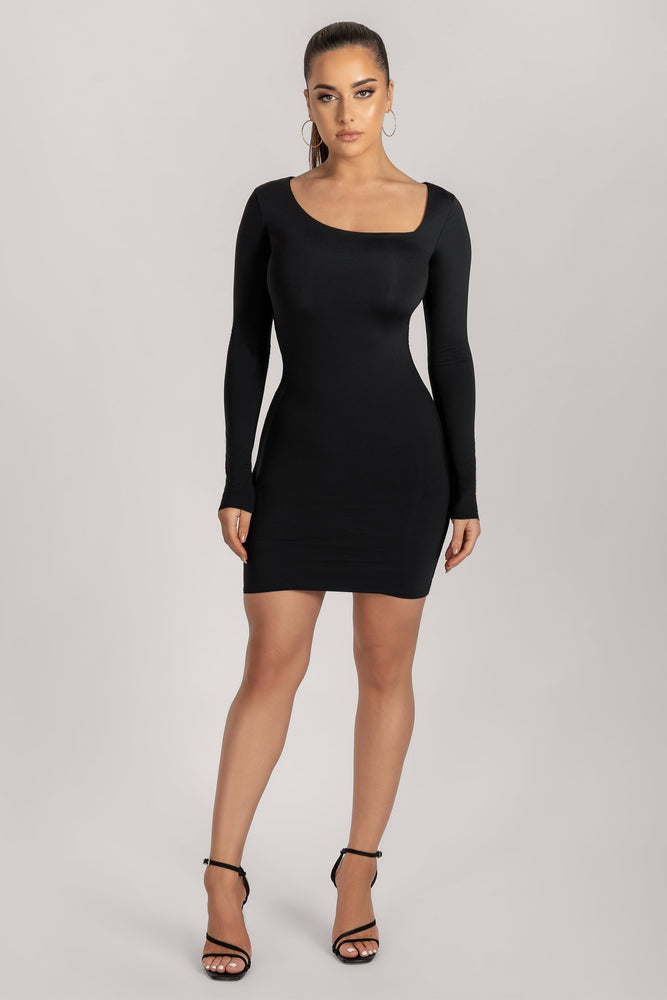 Anna Asymmetric Neck Mini Dress - Black - MESHKI