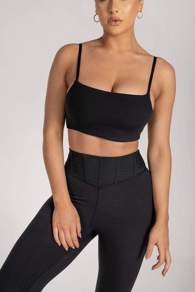 Asteria Thin Strap Crop Top - Black - MESHKI