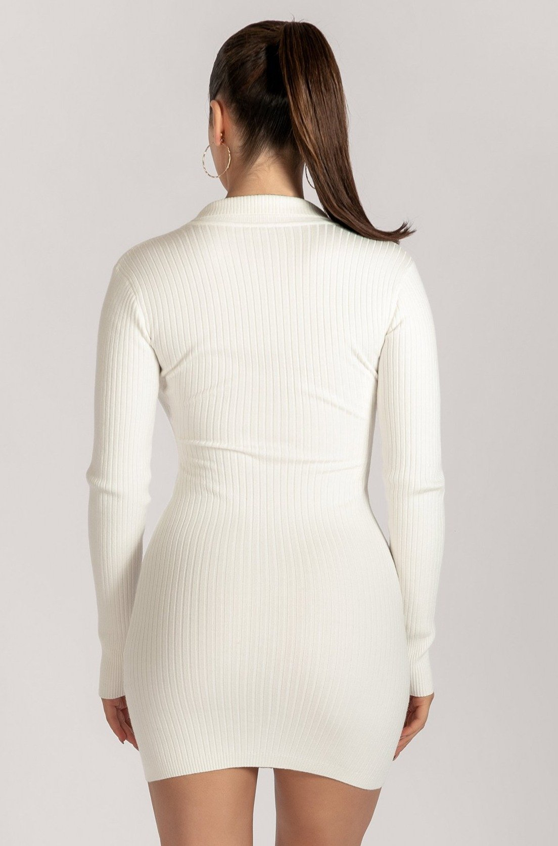 Amae Long Sleeve Mini Dress - White - MESHKI