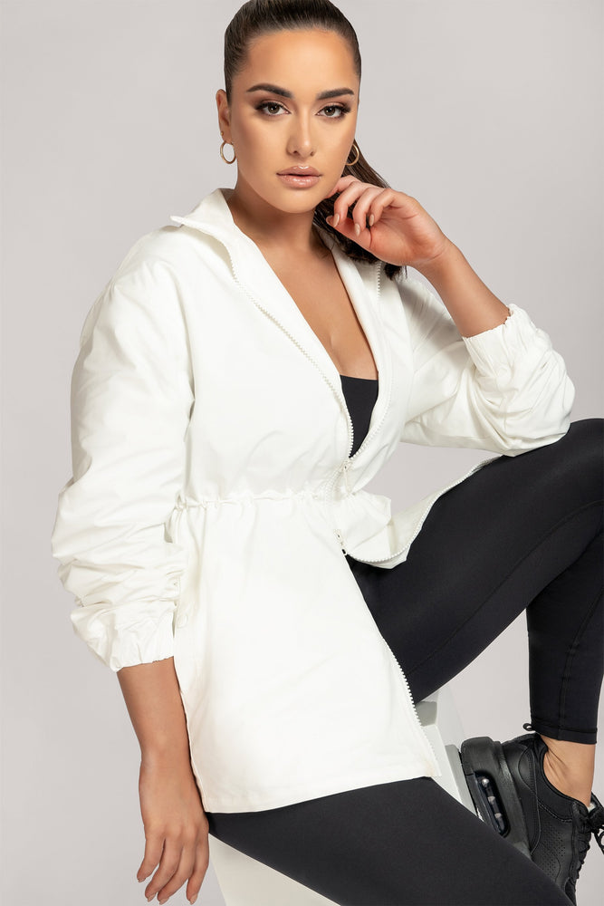 Whitney High Neck Two Way Zip Jacket - White - MESHKI