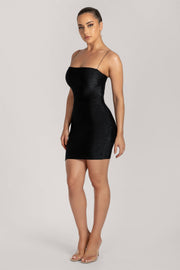 Mia Thin Strap Shimmer Mini Dress - Black - MESHKI