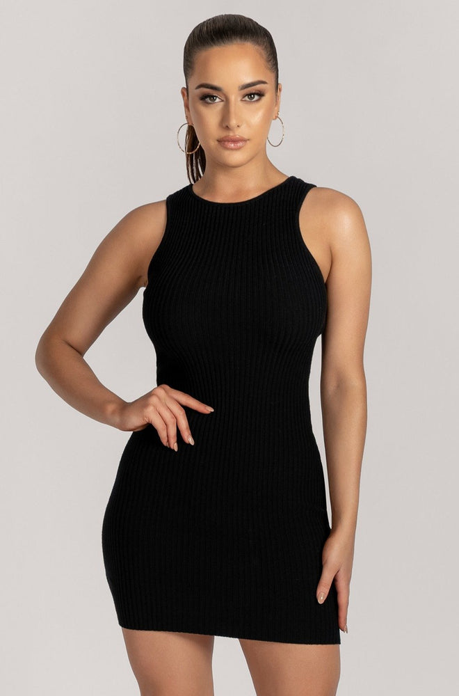 Sienna Sleeveless Ribbed Mini Dress - Black - MESHKI