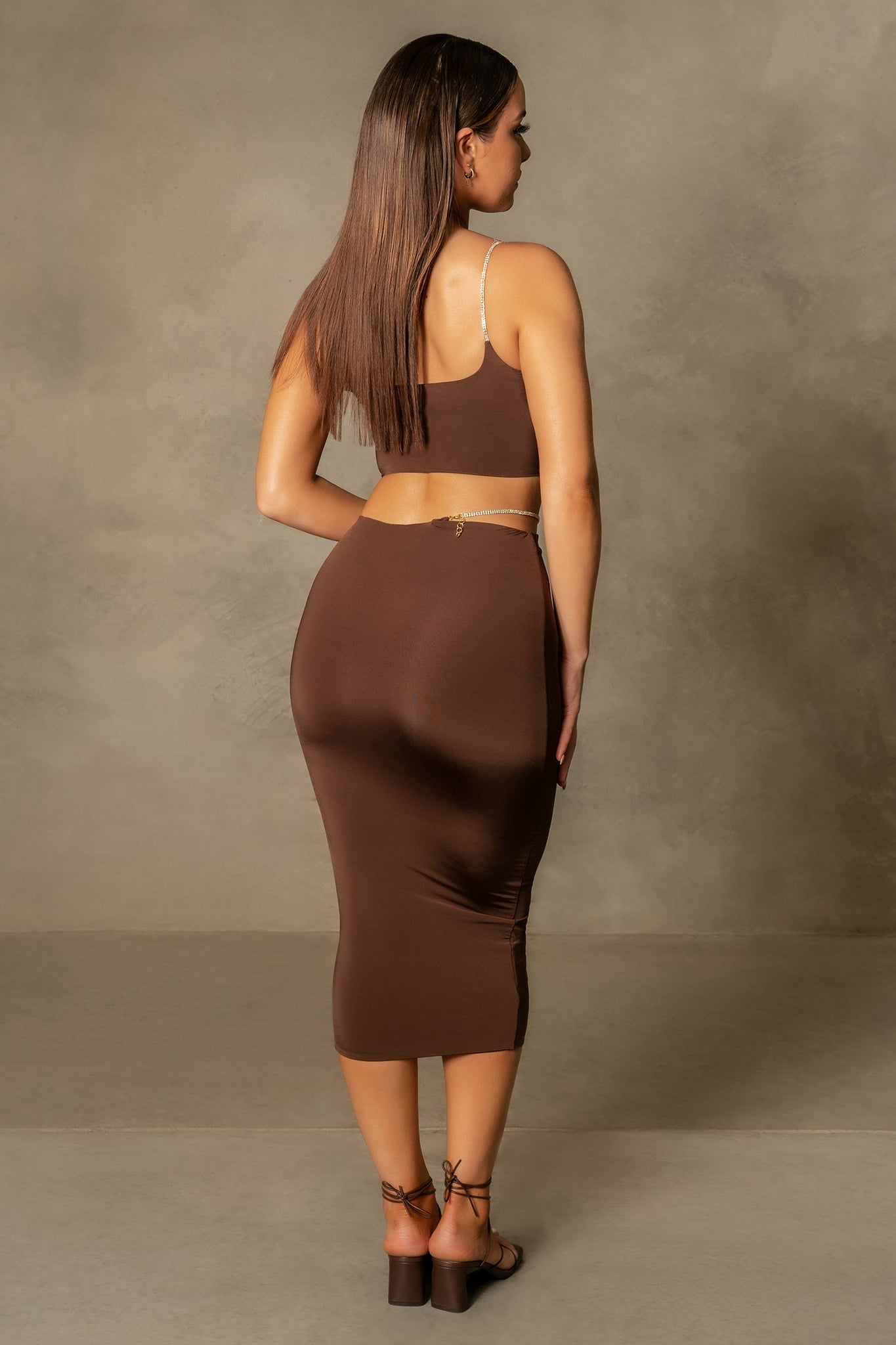Elle Cut Out Midi Skirt - Chocolate - MESHKI