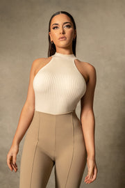 Natalia Racer Neck Knitted Bodysuit - Cream - MESHKI