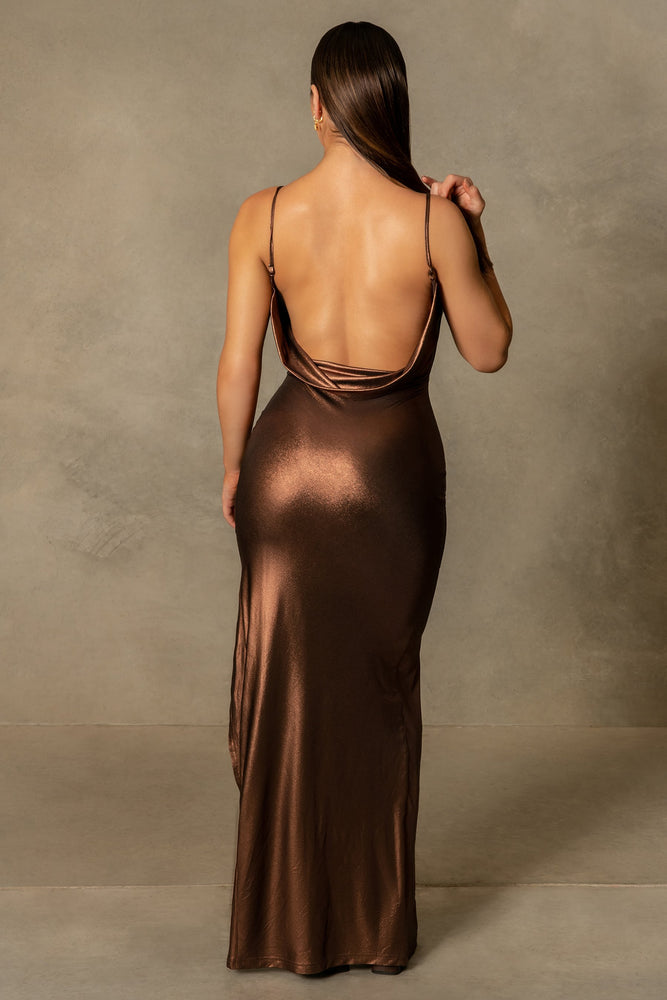 Corinne Cowl Neck Side Split Maxi Dress - Chocolate - MESHKI