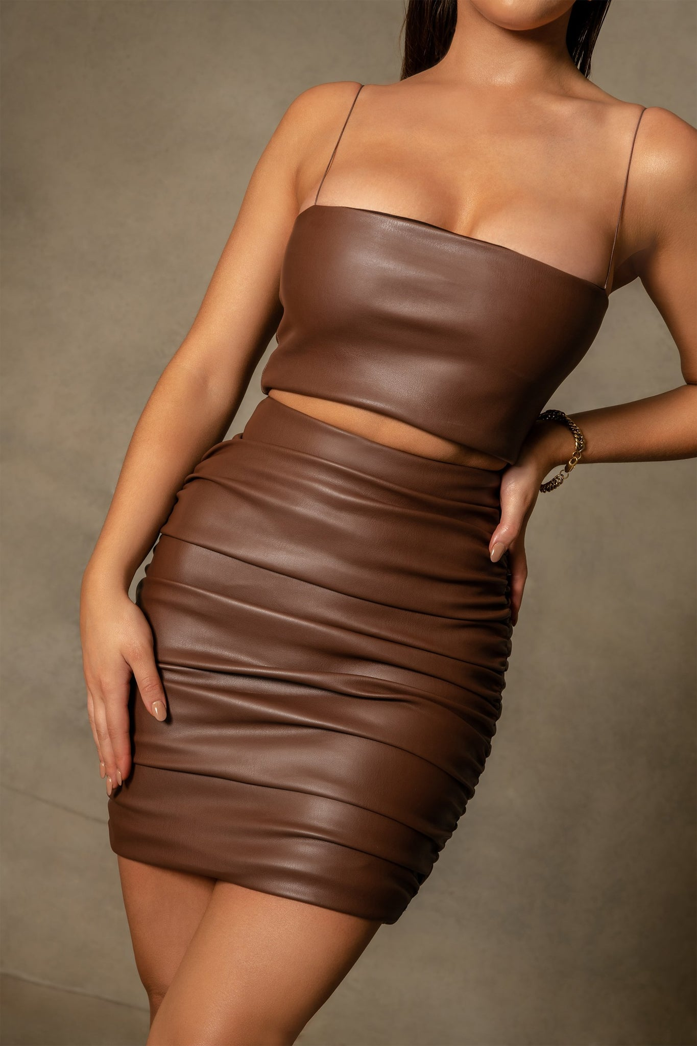 Naomi Ruched Bodycon Mini Skirt - Chocolate - MESHKI
