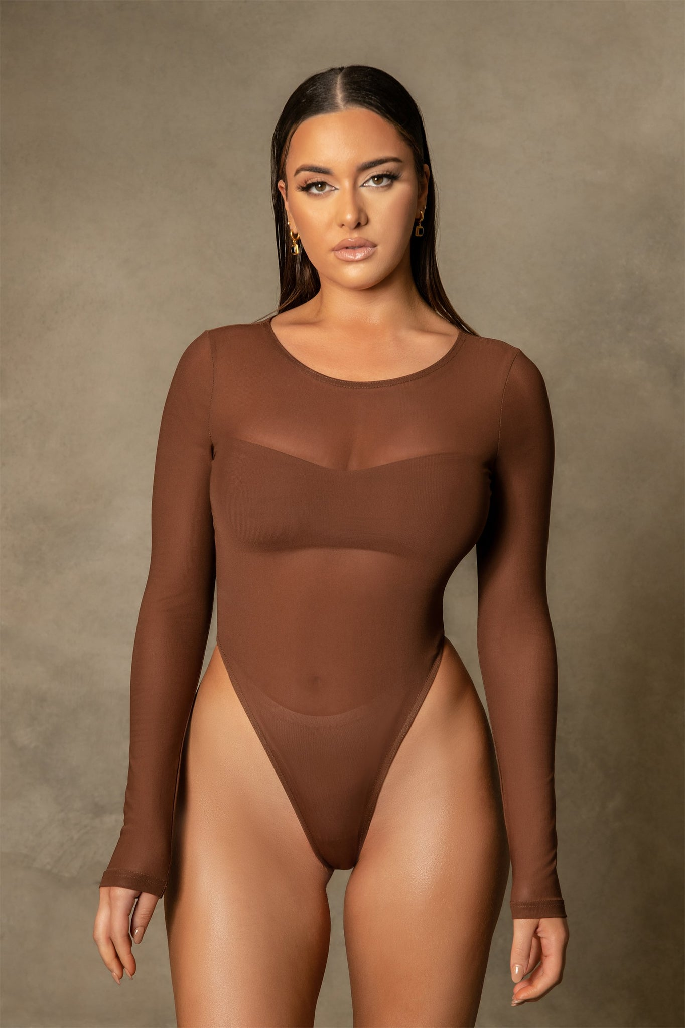 Blaire Mesh Long Sleeve Bodysuit - Chocolate - MESHKI