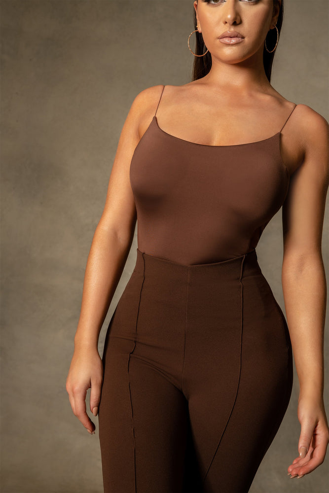 Lola Thin Strap Back Bodysuit - Chocolate - MESHKI