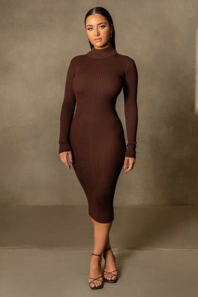Heidi Low Back Knitted Midi Dress - Chocolate - MESHKI