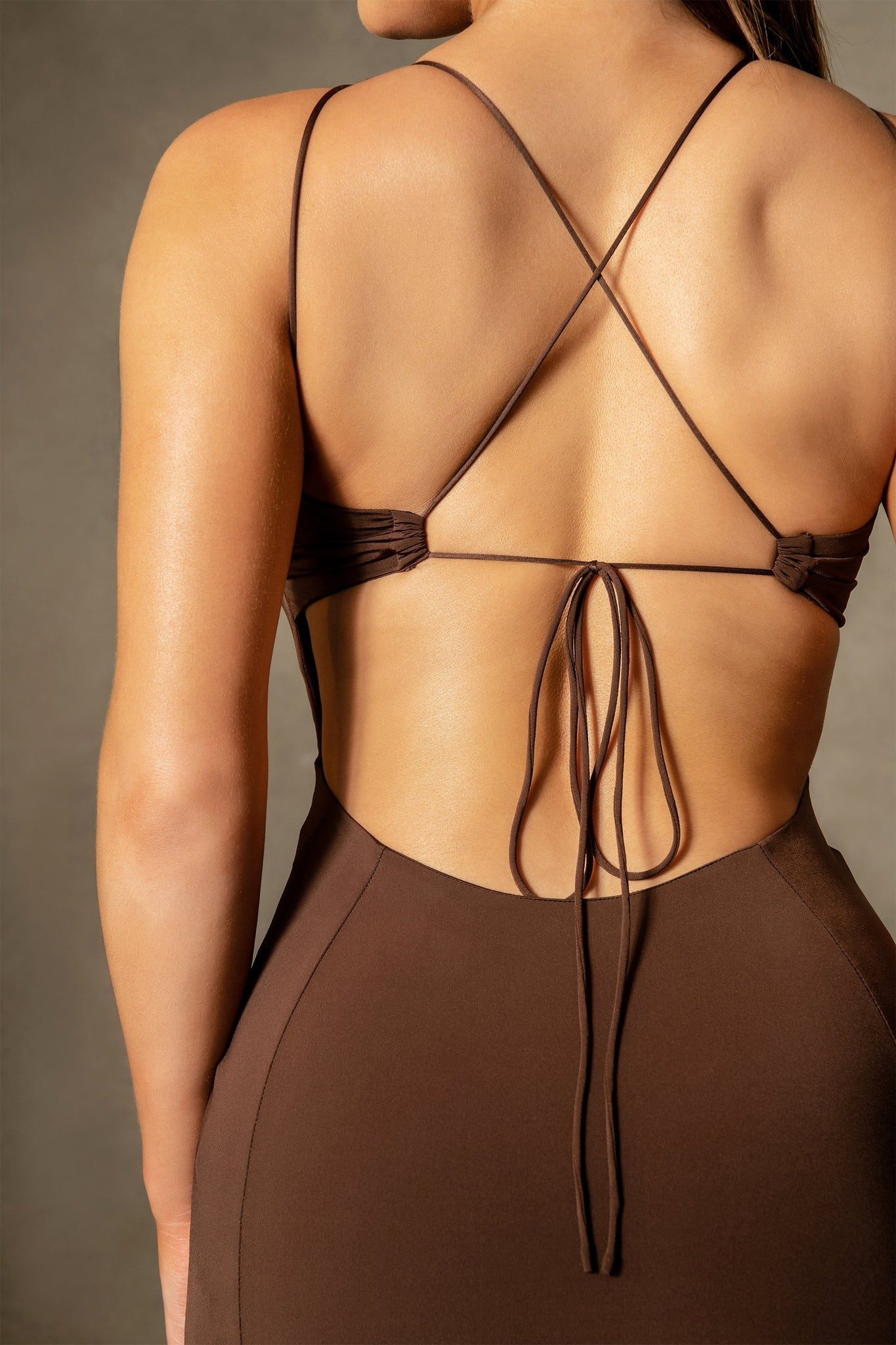 Gisele Sleeveless Halter Back Mini Dress - Chocolate - MESHKI